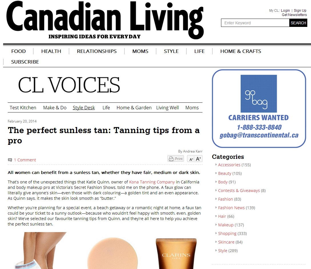Canadian Living Interviews Kona Tanning's Katie Quinn on The Perfect Sunless Tan