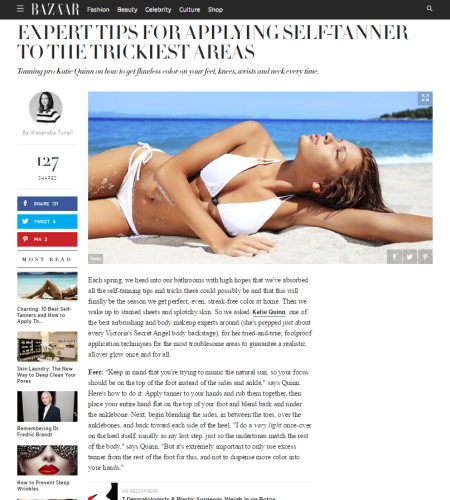 Katie Quinn's Self-Tanning Tips Appear in Harper's Bazaar  |  KonaTans.com