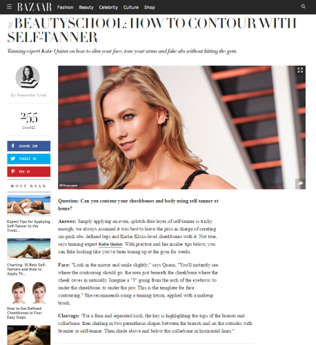 Karlie Kloss in Harper's Bazaar Features Katie Quinn's Insider Self-Tanning Contouring Tips