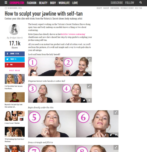 Cosmopolitan Features Katie Quinn's Jaw-Sculpting Technique  |  KonaTans.com